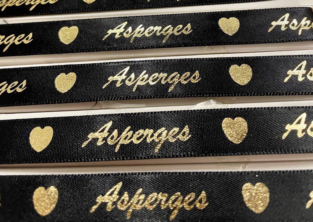 Zwart lint bedrukt met Goud metallic - ASPERGES
